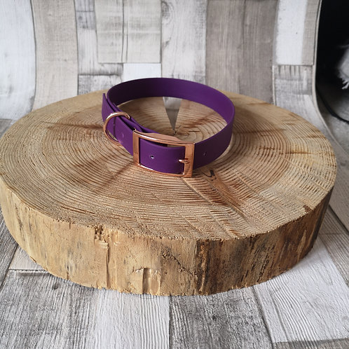 PURPLE Biothane Collar ROSE GOLD BUCKLE
