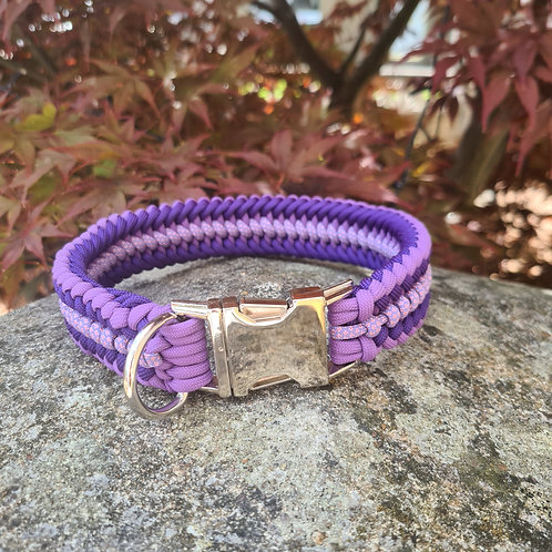 Paracord Dog Collar COVENANT SANCTIFIED SILVER CLIP