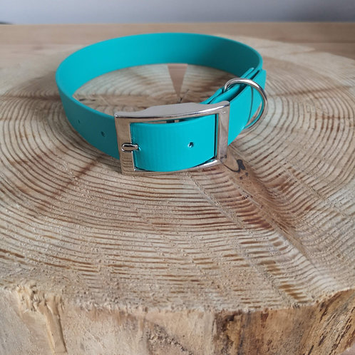 TEAL Biothane Collar SILVER BUCKLE