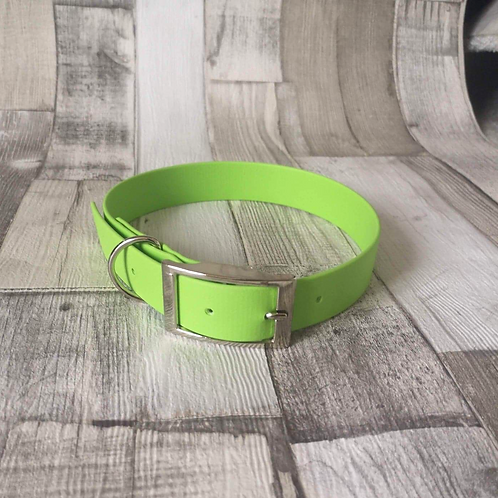 LIME GREEN Biothane Collar SILVER BUCKLE