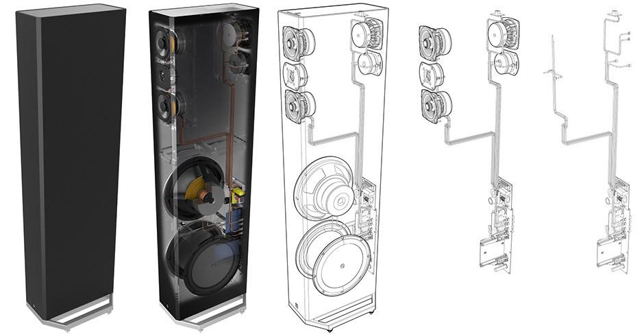 Definitive Technology serii 9000 - przekrój i okablowanie