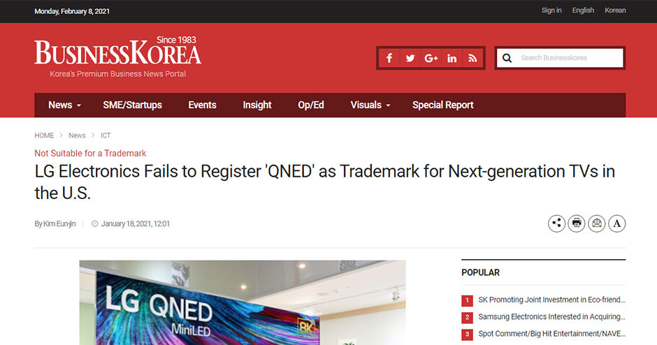 LG fails to register QNED in US