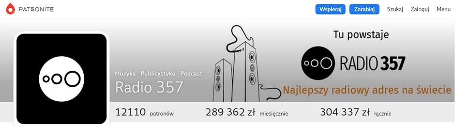 Radio 357 - zbiórka na Patronite