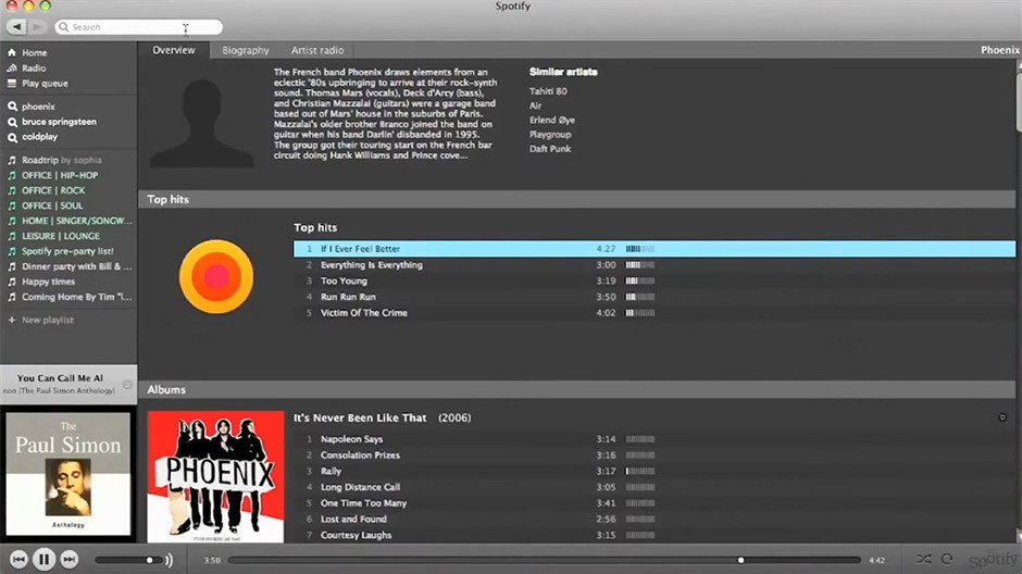 Spotify - old interface
