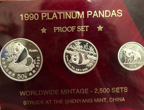 1990 Platinum China Panda Proof Set