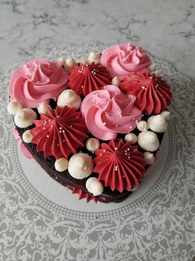 Semi-Naked Textured Buttercream Heart Cake