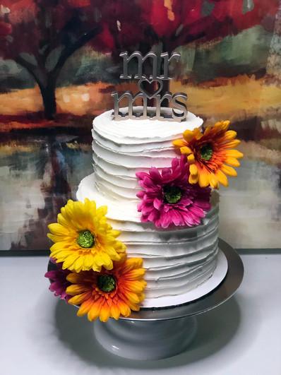 Rustic Bright Flower Cake