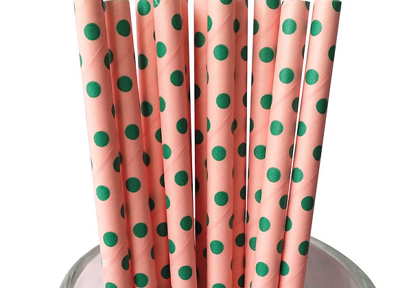 Pink with Green Polka Dots