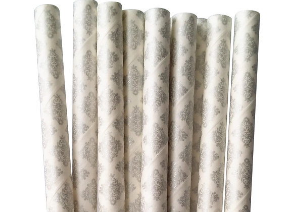Silver and White Damask