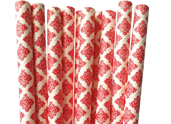 Red and Whit Damask