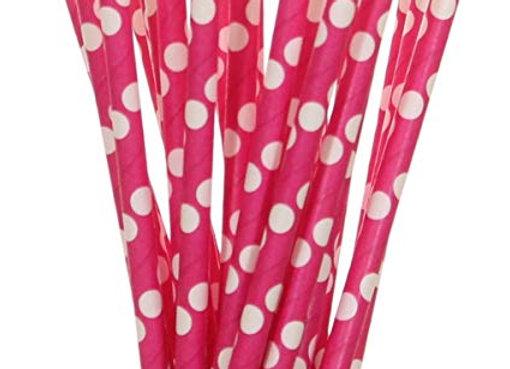 Dark Pink with White Polka Dots