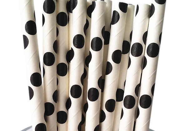 White with Black Polka Dots