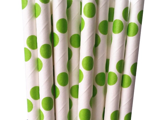 White with Kelly Green Polka Dots