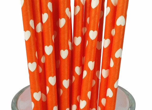 Orange with White Hearts