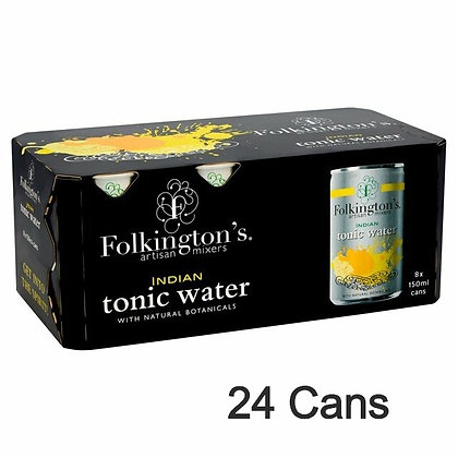 24 Cans Folkington's Indian Tonic Water (150ml)