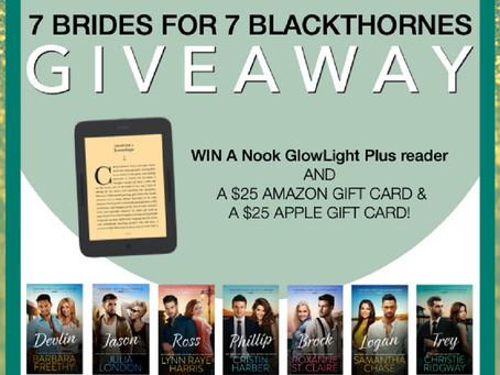 7 Brides for 7 Blaxkthornes – Win a Nook GlowLight Plus reader, $25 Amazon GC, $25 Apple GC!