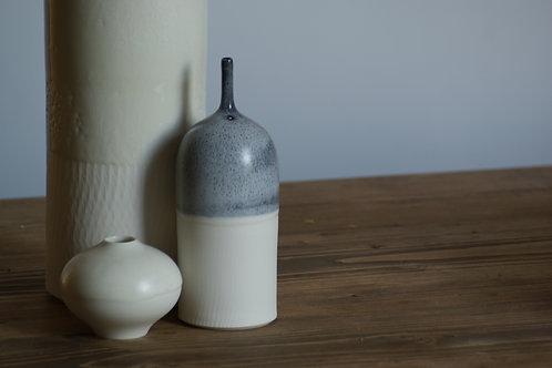 Porcelain bottle vase in speckle black glaze - medium