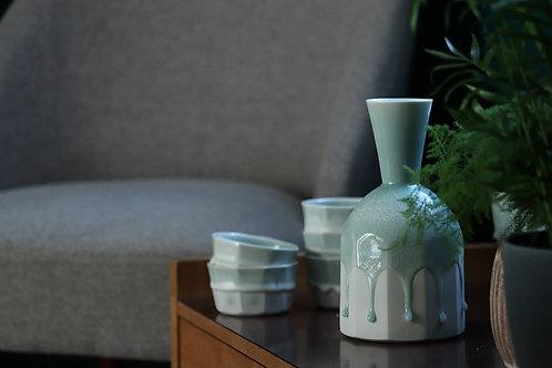Porcelain Carafe and Cups in Celadon Glaze