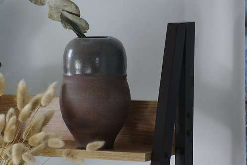 Red Clay Vase - Grey Glaze