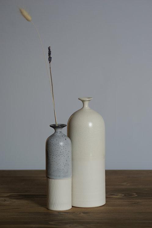 Porcelain bottle vase in white glaze - medium