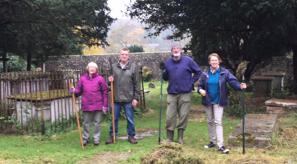 Some of the churchyard gardening team
