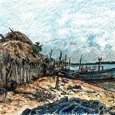 hut on beach w boat and fishing net