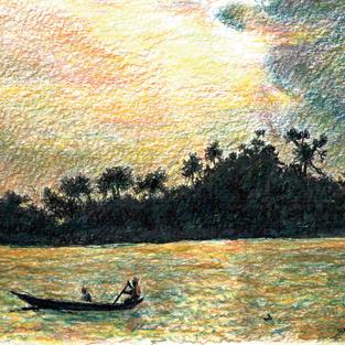 on the Volta at sunset