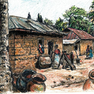 village with clay pots and interesting t