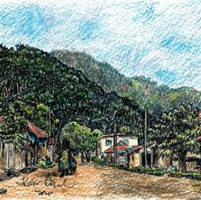 village street w mountains