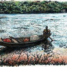 man rowing in boat on Volta w net