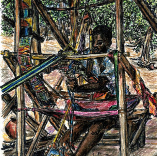 boy weaving kente cloth
