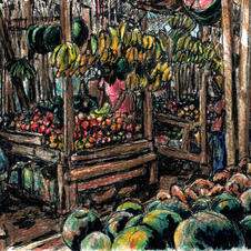 market w watermelons and bananas