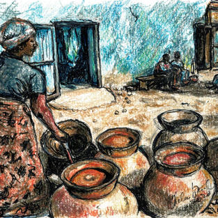 woman stirring clay cooking pots