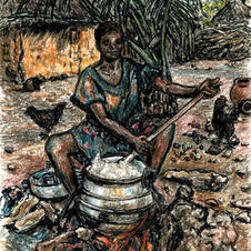 Ghana girl cooking outside with flames