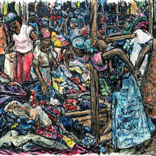 women at fabric market