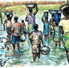 women and children in water w bowls