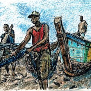 ghana fishermen with nets and boat looki