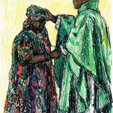 Dolores receiving priestly blessing