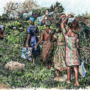 women walking w straw bundles on h