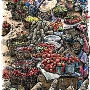 market with tomatoes and cassava