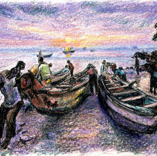 fishermen taking out boats at sunr