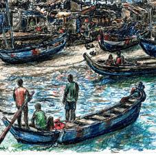 men in boat near shore