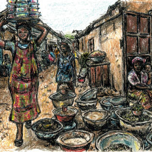 women selling dried beans