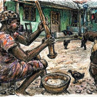 woman pounding cassava w goats & chickens