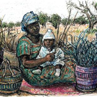 woman w baby weaving baskets