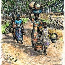 women with baskets on way to marke