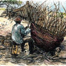 man weaving huge basked on beach