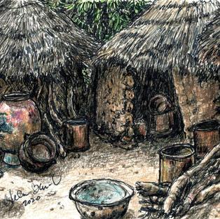 thatched huts w pots
