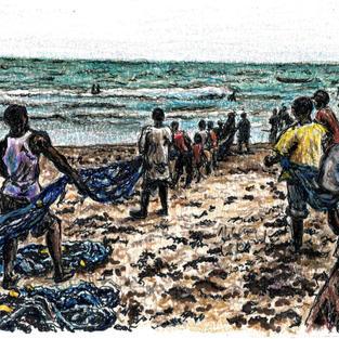 fishermen pulling nets