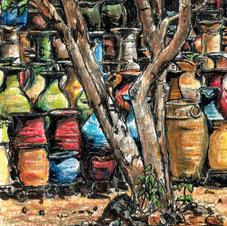 glazed colourful pots